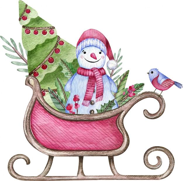 Traîneau De Santa Avec Un Bonhomme De Neige, Des Arbres Et Un Oiseau Cramoisi Isolé Sur Blanc. Illustration Aquarelle De Noël. Photo Premium