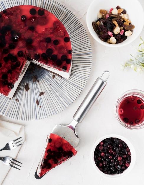 Tranche De Gâteau Fruité à Plat Photo gratuit