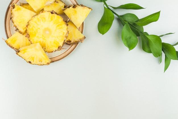 Tranches d'ananas sur une plaque près d'un rameau de plante Photo gratuit
