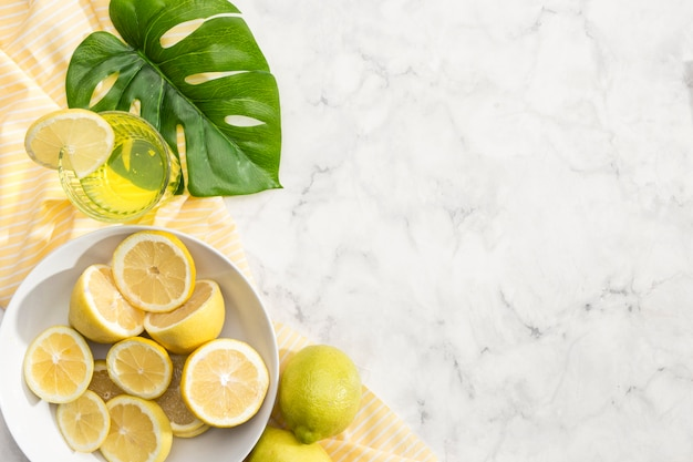Tranches de citron avec du jus de limonade Photo gratuit