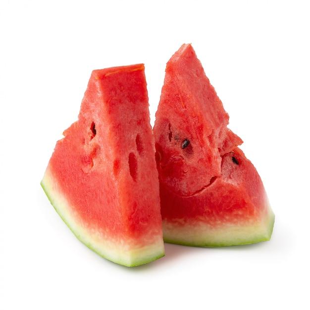 Tranches de melon d'eau isolé Photo Premium