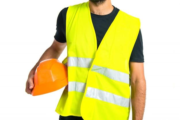 Travailleur sur fond blanc Photo gratuit