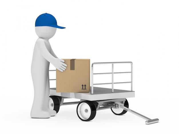 Travailleur ramasser une boîte Photo gratuit