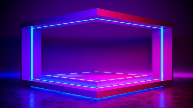 Triangle stage abstrait futuriste, concept ultraviolet, rendu 3d Photo Premium