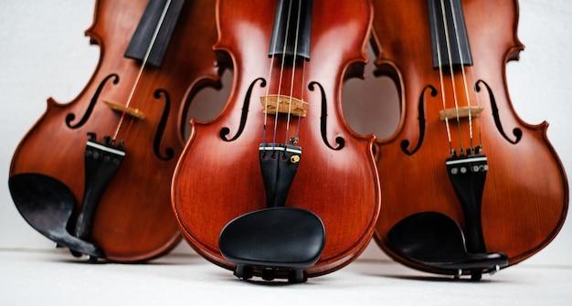 Le triple violon mis sur fond Photo Premium