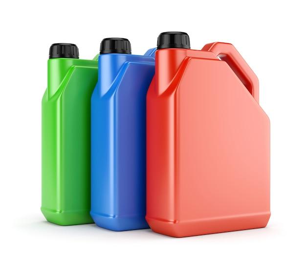 Trois Bidons En Plastique Colorés Photo Premium