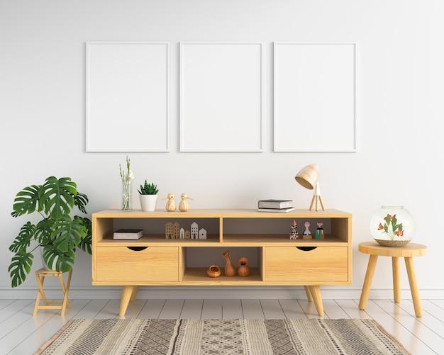 Trois cadre photo blanc et buffet Photo Premium