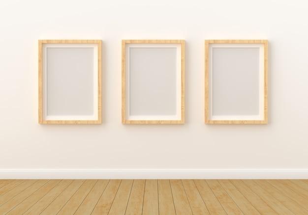 Trois cadre photo vide pour maquette dans le salon moderne Photo Premium