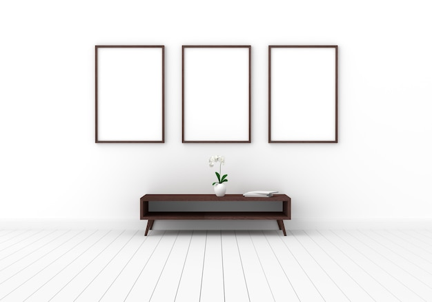 Trois cadre photo vide pour maquette en salle blanche Photo Premium