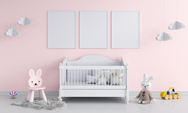 Trois cadre photo vierge dans la chambre d'enfant Photo Premium