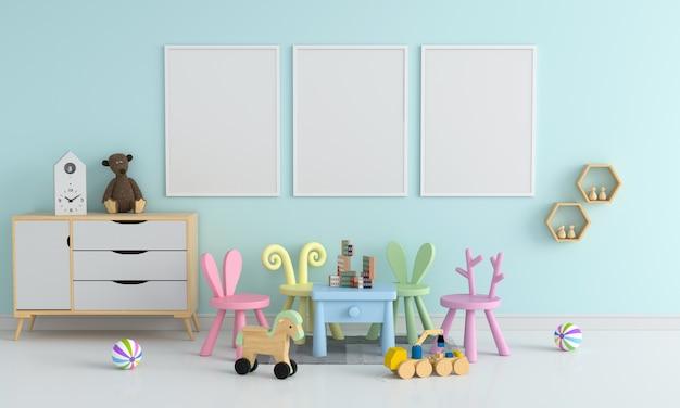 Trois Cadre Photo Vierge Pour Maquette Dans Une Chambre D'enfant Photo Premium