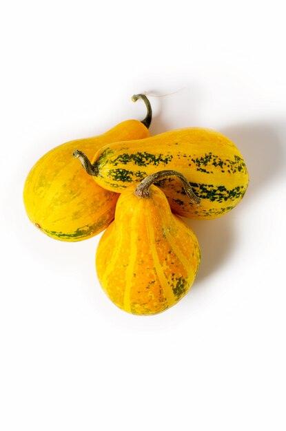 Trois citrouilles jaunes isolés sur fond blanc. récolte de légumes d'automne. Photo Premium
