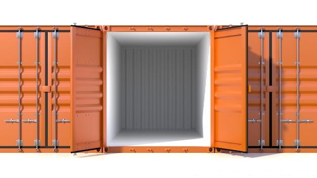 Trois conteneurs de navires vides, un vide avec portes Photo Premium