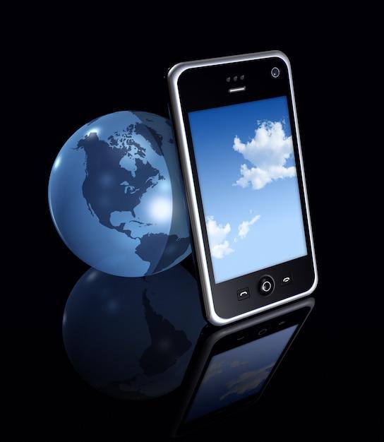Trois dimensions téléphone portable et globe terrestre sur fond noir Photo Premium