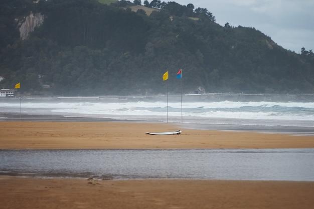 Trois Drapeaux Colorés Et Une Planche De Surf Sur La Plage Venteuse Sous Les Collines Boisées Vert Foncé Photo gratuit