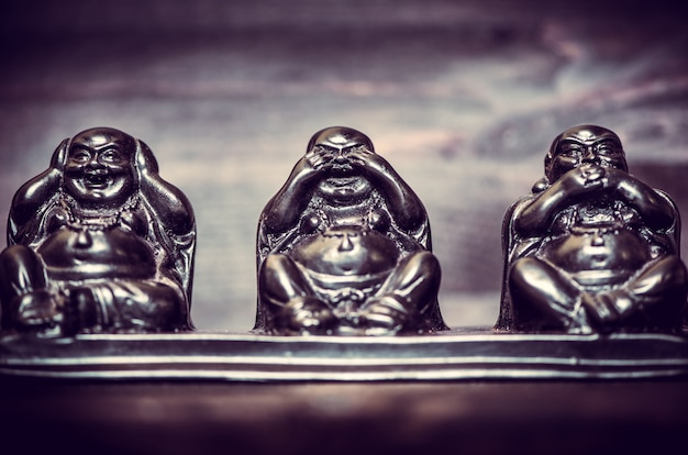 Trois figures de la philosophie buddah Photo Premium
