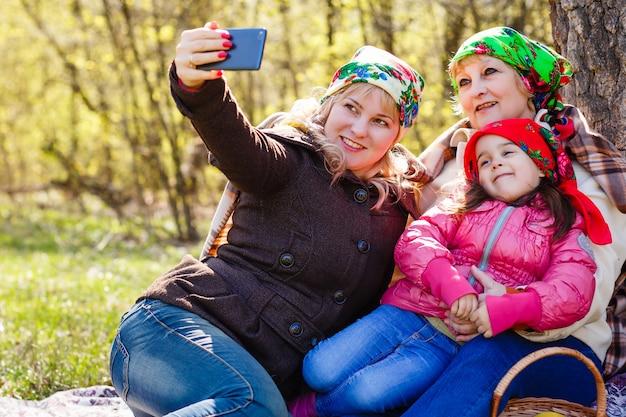 Trois générations de femmes. belle mamie Photo Premium
