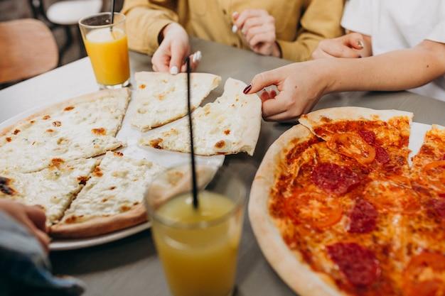 Trois, Girl, Amis, Avoir, Pizza, Barre Photo gratuit