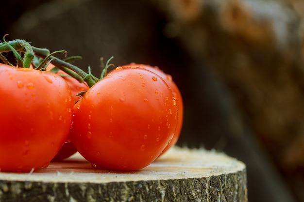 Trois tomates avec des gouttes d'eau sur fond de bois Photo Premium