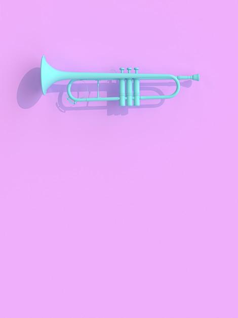 Trompette bleue sur violet Photo Premium