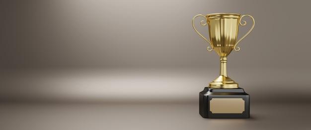 Trophée D'or Avec Espace Copie, Rendu 3d. Photo Premium