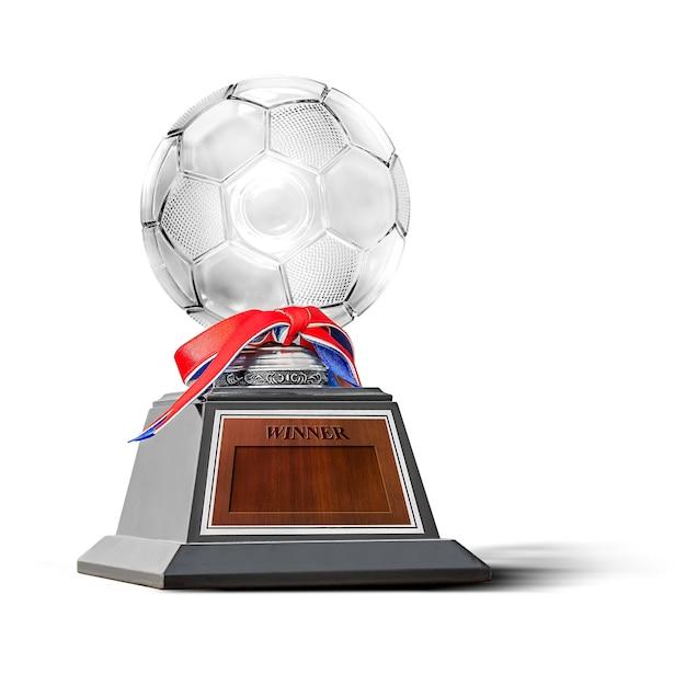 Trophée Pour Le Champion De La Compétition De Football Isolé Sur Blanc Photo Premium