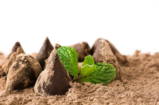 Truffes au chocolat maison et fond blanc isolé menthe Photo Premium