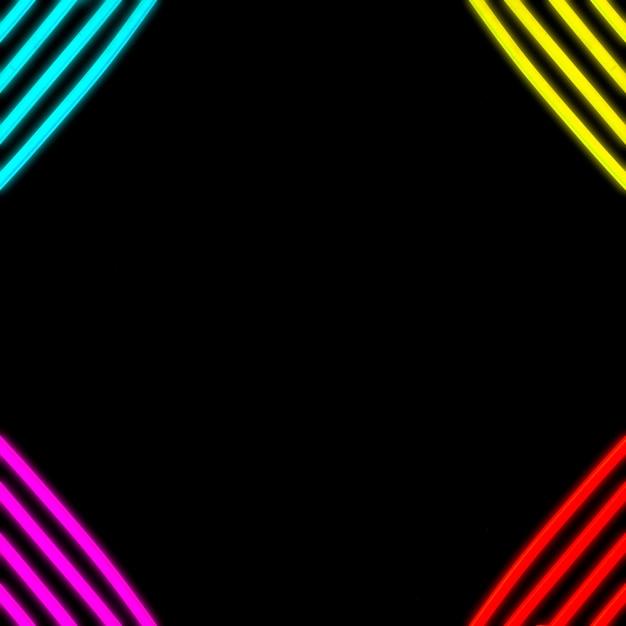 Tube de bande de couleur néon sur le coin de la toile de fond Photo gratuit