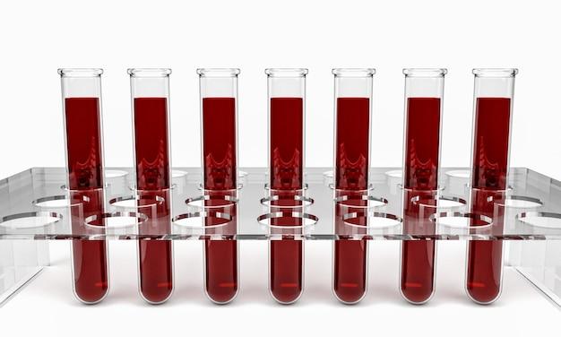 Tubes à essai avec des échantillons de sang, rendu 3d isolé Photo Premium