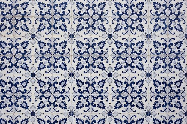 Tuiles Portugaises Traditionnelles Anciennes. De Couleur Bleue. Photo Premium