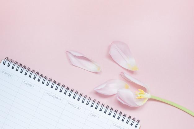 Tulipe rose avec planificateur de bureau vide ouvert flat lay Photo Premium