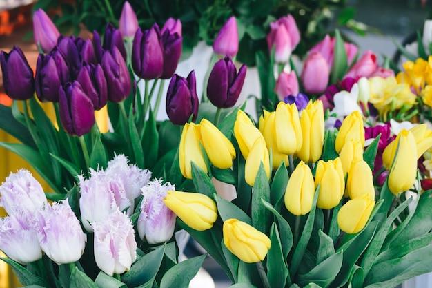 Tulipes De Couleurs Différentes Sur Le Comptoir De Fleurs Photo Premium