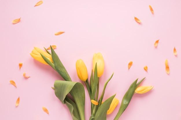 Tulipes jaunes avec des pétales sur la table Photo gratuit