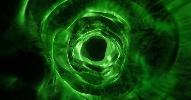 Tunnel organique vert, fond de trou de ver Photo Premium