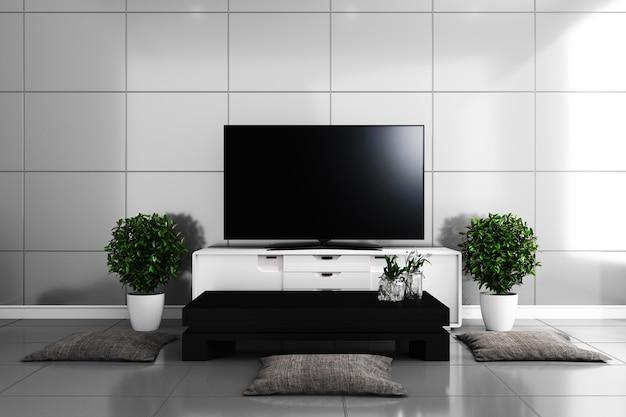 Tv dans le salon moderne, carrelage au design coloré. rendu ...