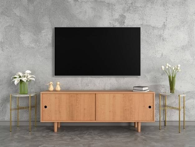Tv grand écran et buffet dans le salon Photo Premium