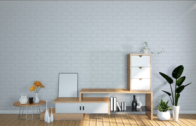 Tv mockup room wall dans le salon japonais. rendu 3d Photo Premium