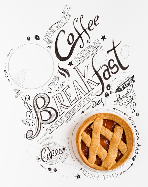 Typographie dessiné petit déjeuner dessiné à la main Photo Premium