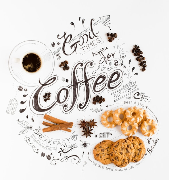 Typographie dessiné petit déjeuner dessiné à la main Photo Premium