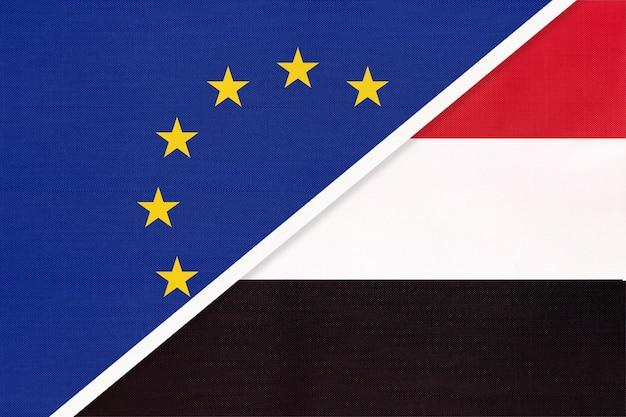 Union Européenne Ou Ue Et République Du Yémen Ou Drapeau National Du Yaman En Textile. Photo Premium