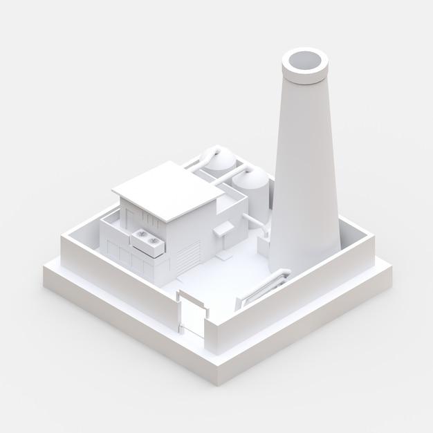 Usine De Bande Dessinée Isométrique Dans Le Style De Minimal. Bâtiment Blanc. Rendu 3d. Photo Premium