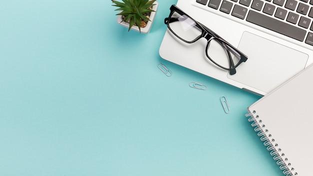 Usine de cactus, trombones, lunettes, bloc-notes en spirale près de l'ordinateur portable Photo gratuit