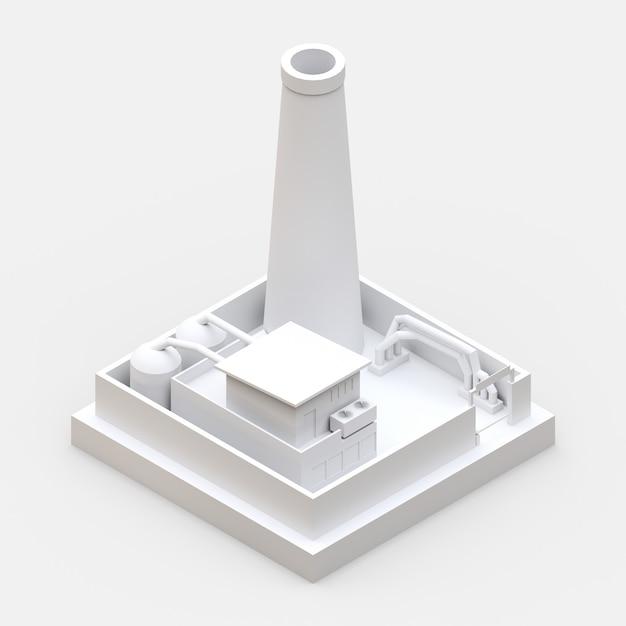Usine De Dessin Animé Isométrique Dans Le Style Minimal. Bâtiment Blanc Sur Une Surface Blanche Photo Premium