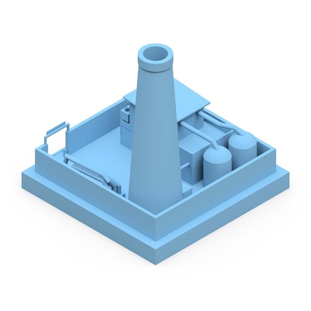 Usine De Dessin Animé Isométrique Dans Le Style Minimal. Bâtiment Bleu Sur Une Surface Blanche Photo Premium