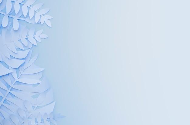 Usines De Papier Exotiques Origami Sur Fond Bleu Dégradé Photo Premium