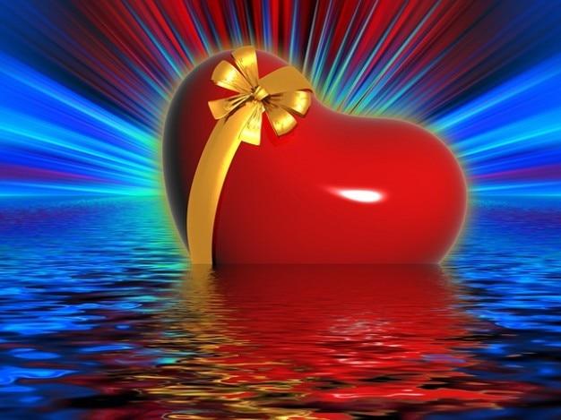 Vague De Coeur D Amour Boucle Cadeau Chance Rayons Eau Nager