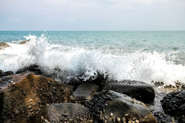 Vagues de la mer lors d'une tempête à andaman Photo Premium