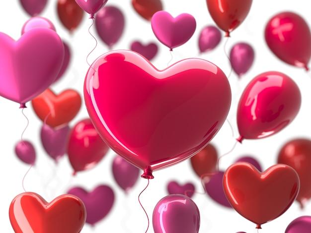 Valentin abstrait avec des ballons 3d rouges en forme de coeur. Photo Premium