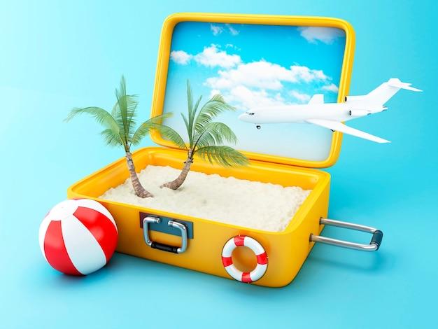 Valise de voyage concept de vacances à la plage Photo Premium