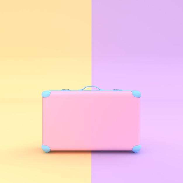 Valise de voyage couleur pastel rose avec un tracé de détourage et une maquette pour votre texte Photo Premium